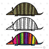 Armadillo Symbol in three color styles.