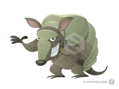 A cartoon Armadillo with a smile and an arm raised.