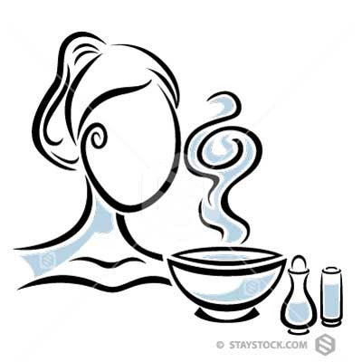 A stylised woman intaking Aromatherapy vapours.