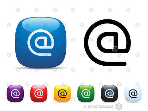 A set of shiny square icon buttons featuring an email At Symbol.