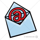 The At email symbol Inside an open cartoon envelope.
