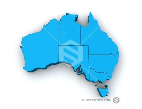 A blue 3D top view map of Australia showing State lines.