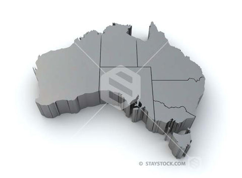 The map of Australia in metallic grey 3D on a white background.