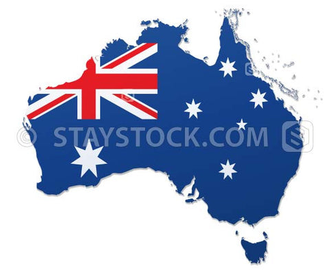 Staystock - The Australian Flag on a map of Australia vector.