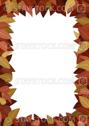 A border design made from autumn leaves.