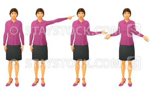 A realistic illustration and a female avatar called Jane wearing casual business dress in four poses.
