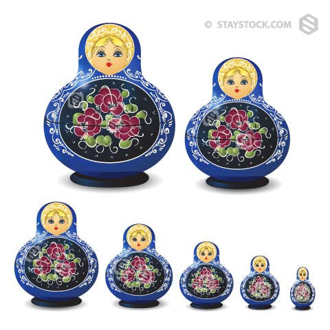 Babushka Doll Set in blue with intricate detail, on a white background.