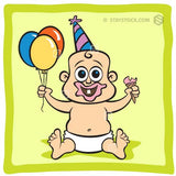 Baby Birthday cartoon character.