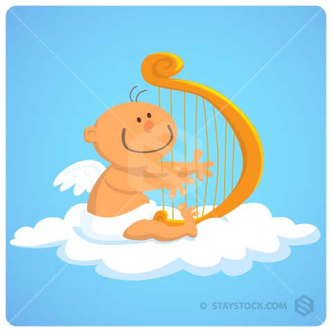 Baby playing harp, sitting on cloud in heaven