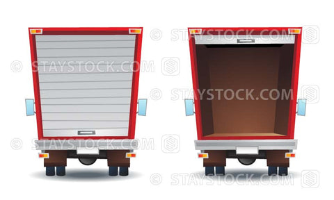 Vector illustrations of the back of a truck with one door close and the other door open.