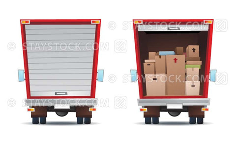 Vector illustrations of the back of a truck with one door close and the other door open and lots of boxes inside.