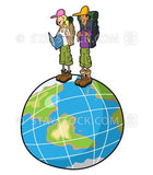 A cartoon of two backpacking young people standing on the world.