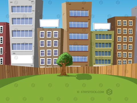 An outdoors scene showing a park or backyard with a lonely tree in a cityscape.