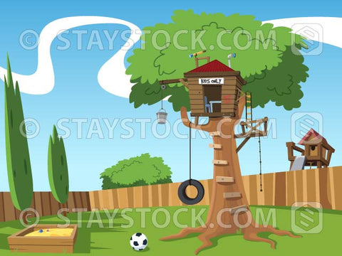 A cartoon backyard background scene featuring a tree house.