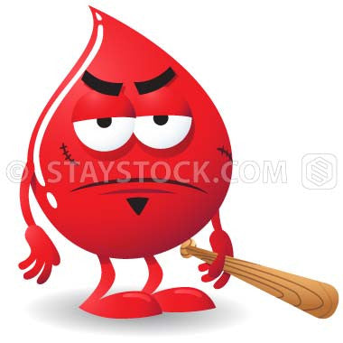 A mean, nasty blood droplet cartoon character representing bad blood.