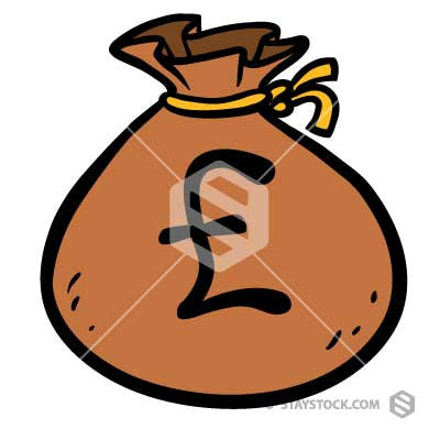 Bag Of Money with a Pound symbol on the front.