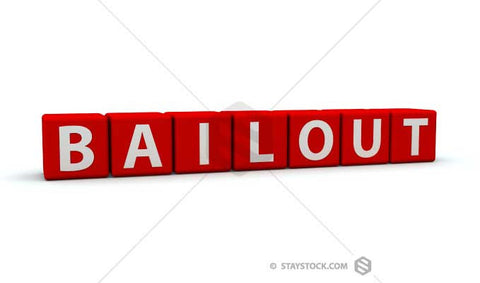 The word bailout on red 3D cubes.