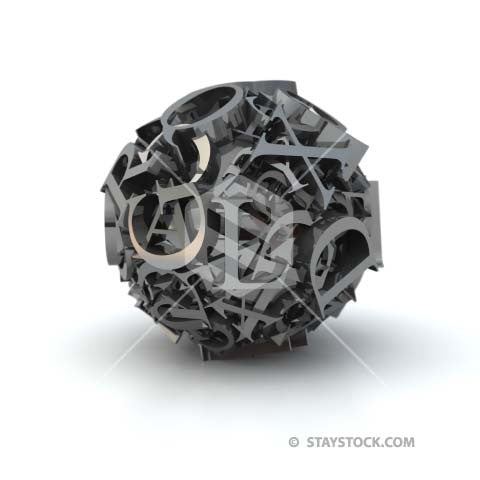 A ball made from many grey 3D numerals.