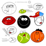 A set of different types of sporting balls as cartoon characters.