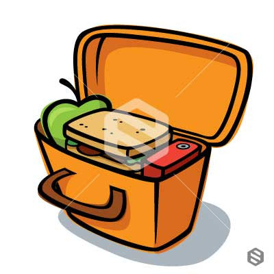 Basic Lunch Box with lid open and full of food.