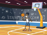 A cartoon man spinning a basketball on his finger while standing on a basketball court.
