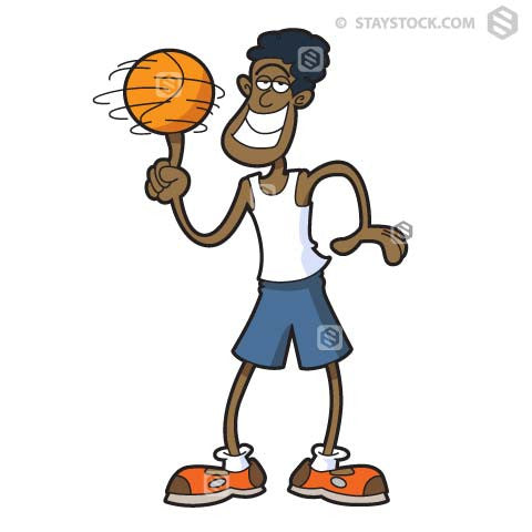 Cartoon of a Basketball player spinning a basketball on his finger.
