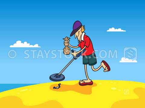 A cartoon man beach combing searching for lost jewellery.