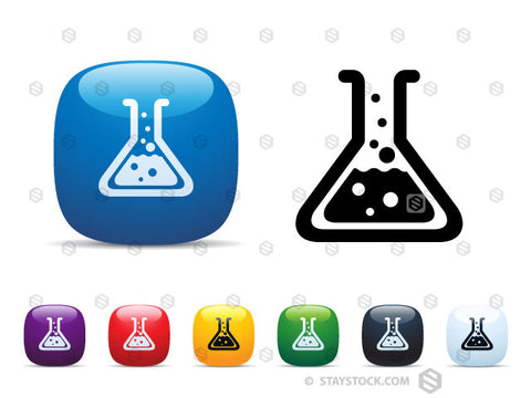 A set of shiny square icon buttons featuring a chemistry beaker.