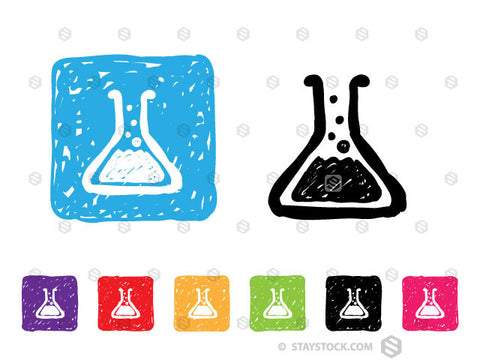 A colourful collection of sketched square icons featuring a chemistry beaker.