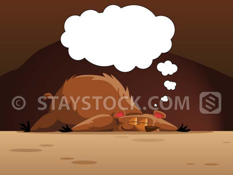 A cartoon bear hibernating in a cave and dreaming in a thought bubble.