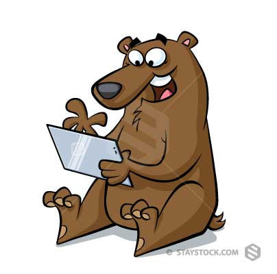 A cartoon bear using a touch screen table computer.