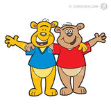 Two bear cartoon characters hugging, as best friends.