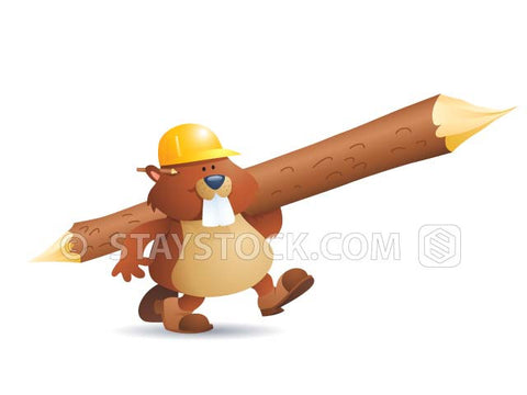 A contractor beaver wearing a hardhat carries a large freshly milled log.