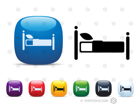 A set of shiny square icon buttons featuring a bed.