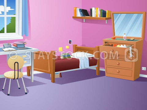 An illustration of a bedroom with furniture, bed, shelves and desk.