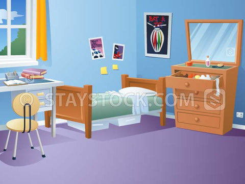 A bedroom scene with desk bed and drawers.