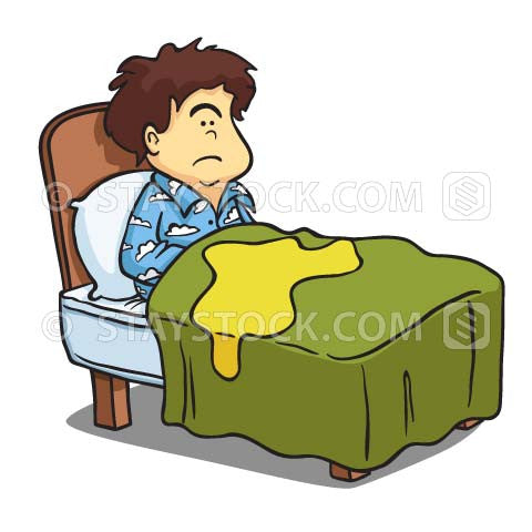 A child in a bed with wet sheets from bedwetting.