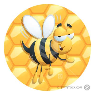 a cartoon bee infront of honeycomb background.