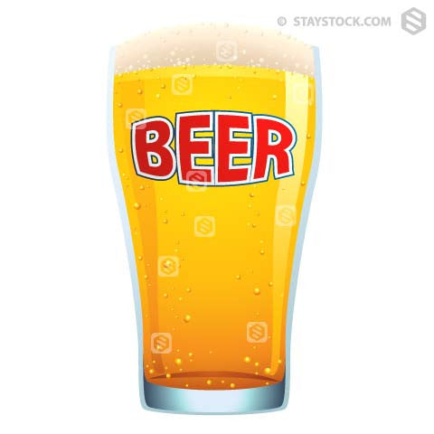 A large glass of cold beer.