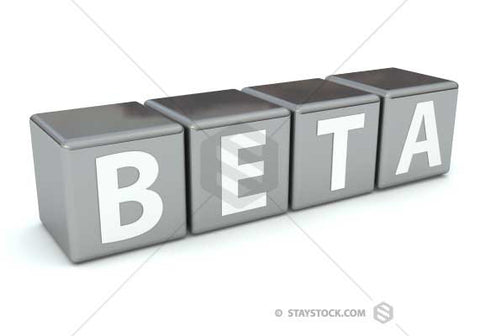The word BETA mapped onto grey cubes.
