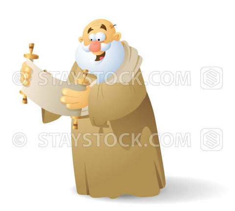 A multipurpose cartoon character man from the bible reading a scroll.