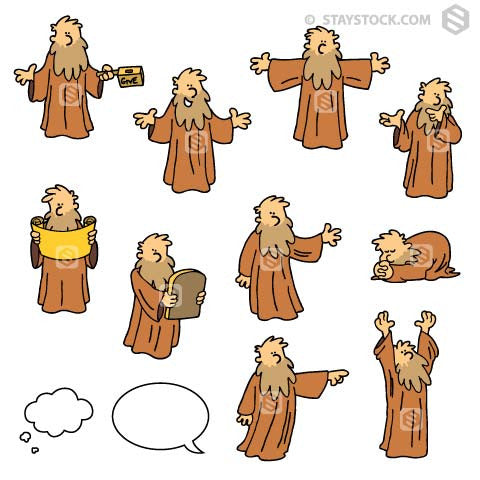 Cartoon bible character man in multiple poses.