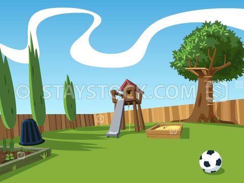 A cartoon backyard scene including a garden bed a cubby house, tree house, soccer ball, sandpit a wooden fence, compost bin and grass space.