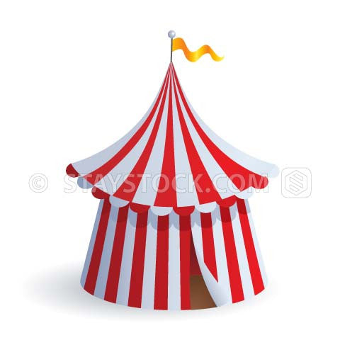 A red and white striped big top circus tent.