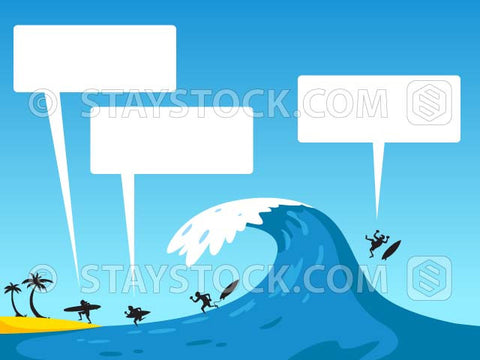 A cartoon beach scene with a big wave coming in while surfers talk.