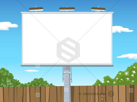 A cartoon outdoor billboard sign