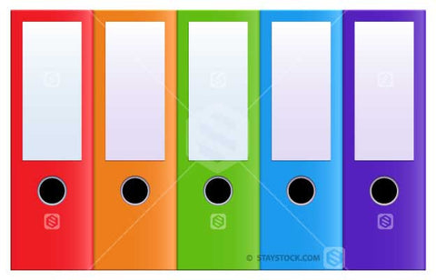 Multiple colour binder filing folders in a row.