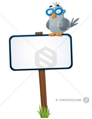 A pigeon sits on top of a blank sign post.