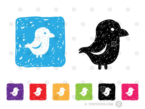 A colourful collection of sketched square icons featuring a bird.