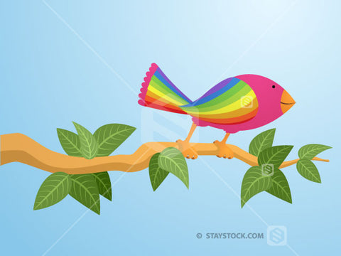 A colourful bird on a branch illustration.